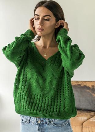 Пуловер, вязанный пуловер, оверсайз пуловер, кофта оверсайз, в'язана кофта