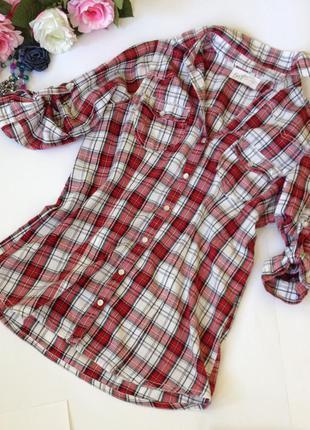 Рубашка в красную клетку с перламутровыми кнопками