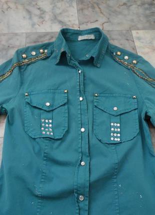 Коттоновая рубашка с камнями и цепочками justor