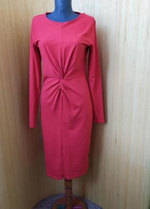 Трикотажное базовое красное платье в деловом стиле / для беременных h&m