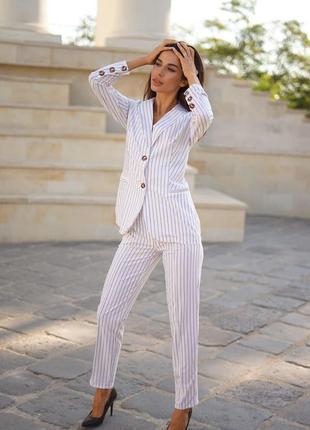 1760.     белый деловой костюм в полоску