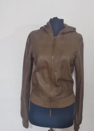 Бомбер шкіряна куртка xs