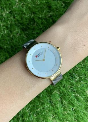 Женские наручные часы curren blanche серебристые с золотым металлические