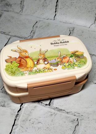 Ланчбокс зайчики кролики, ланч-бокс, контейнер для еды, 4 отделения
