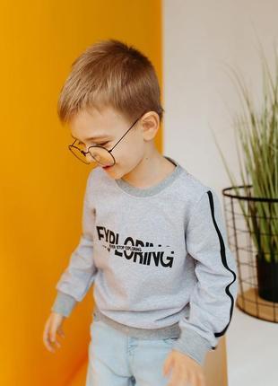Хлопковый детский повседневный свитшот с надписью