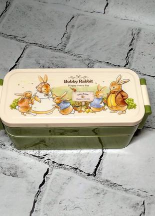 Ланчбокс зайчики кролики, ланч-бокс, контейнер для еды, прямоугольный, зеленый
