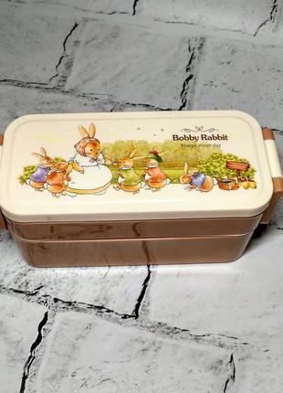 Ланчбокс зайчики кролики, ланч-бокс, контейнер для еды, прямоугольный, коричневый