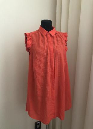 Рубашка туника платье рубашка оранжевая удлинённая строгая летняя