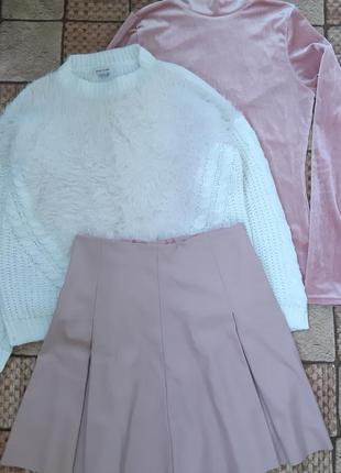 Модная одежда для девочки,  кожаная юбка, гольф, пудра, свитер оверсайзс,  травка