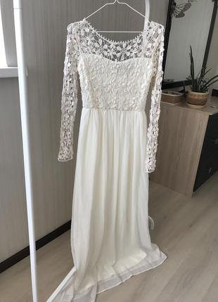 Summer sale!!!молочное нарядное платье в пол с открытой спинкой club l