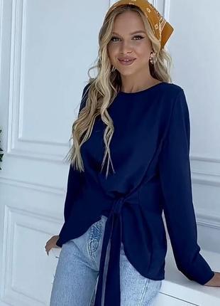 Синяя асимметричная блуза с завязкой