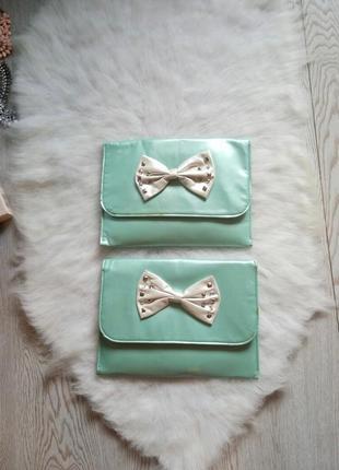 Бирюзовый мятный клатч с отделениями белым бантом тиффани голубой маленькая сумка квадрат