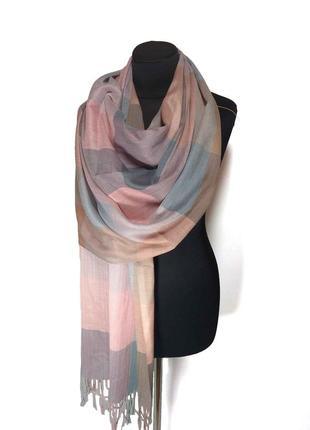 Тонкий демисезонный шарф палантин розовая серая клетка хлопок новый качественный