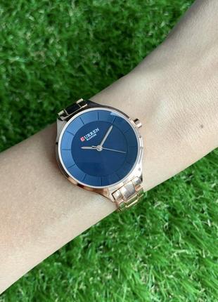 Женские наручные часы металлические curren blanche розовое золото с синим