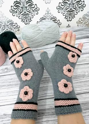 Перчатки без пальцев - митенки - подарок для нее