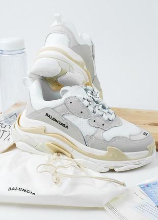 Женские бежевые кроссовки triple s beige