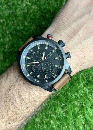 Мужские наручные часы curren коричневые с черным из искусственной кожи