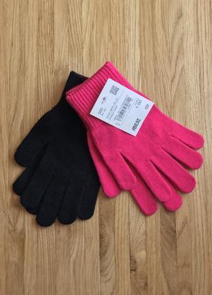 Комплект 2 пары. трикотажные женские стрейчевые демисезонные перчатки c&a