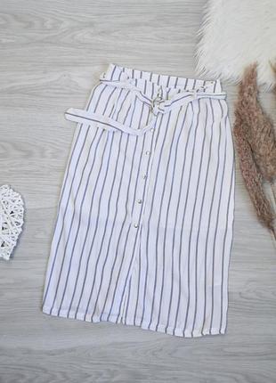 Идеальная полосатая юбка миди с поясом