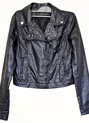Очень крутая вощеная курточка косуха с металлическими звездочками фирмы city life