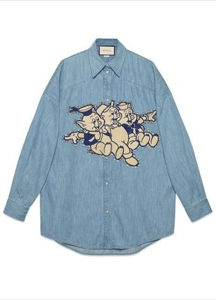Джинсовая рубашка gucci 2019 the three little pigs button down denim shirt