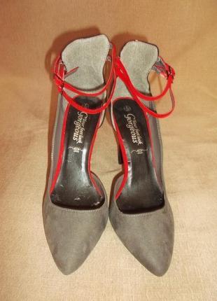 Босоножки туфли серые пряжки красные высокий каблук лодочка р. 39 - gorgeous