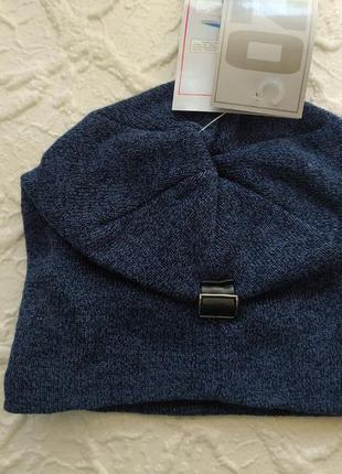 Синяя меланжевая шапка на защипе