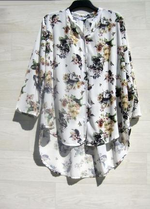 Длинная рубашка блузка италия белая разноцветная цветочный принт