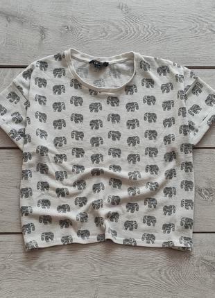 Подростковая укороченная майка с милыми слониками от new look