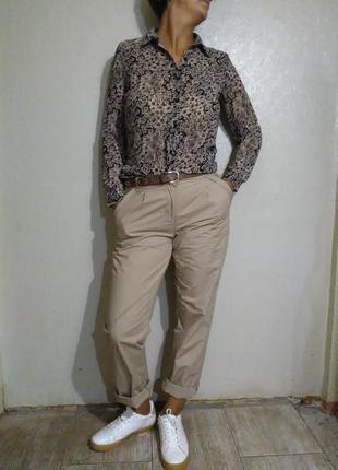 Блузка,блуза, шифоновая,цветочный принт, бежевая,