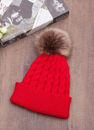 13-70 красива вязана шапка з помпоном вязаная шапка