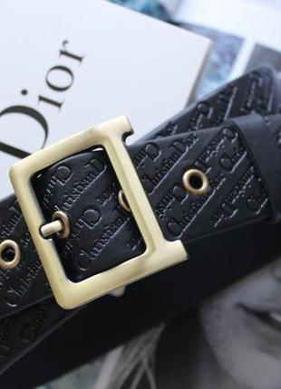 Женский кожаный ремень с тиснением dior черный