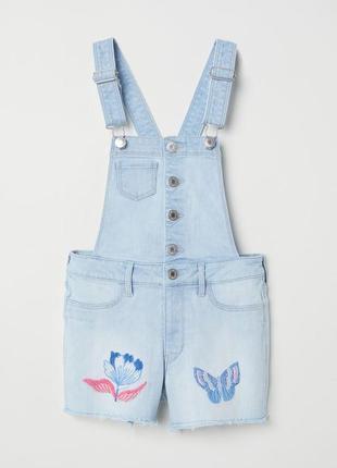 Джинсовий комбінезон h&m kids embroidered overall shorts michelle morin 152 11-12