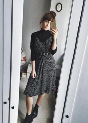 Длинное миди платье в горошек вискоза сарафан на тонких бретельках