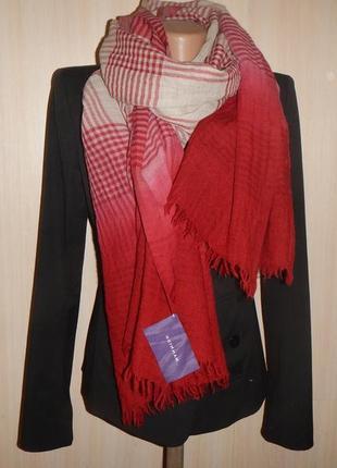 Шикарный шарф mannish р.194см х 77см палантин 100% шерсть