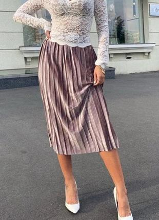 Кавова бархатная юбка плиссе