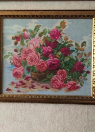 Картина, вышивка крестом розы