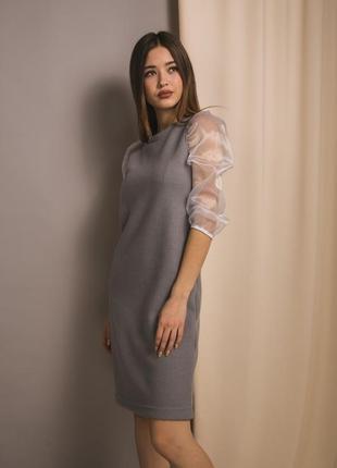 Трикотажное платье с укороченными рукавами