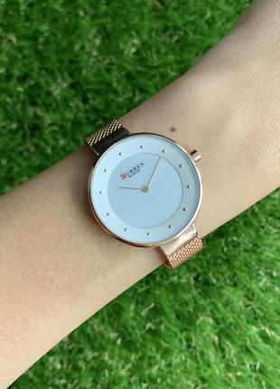 Женские наручные часы curren blanche розовое красное золото металлические