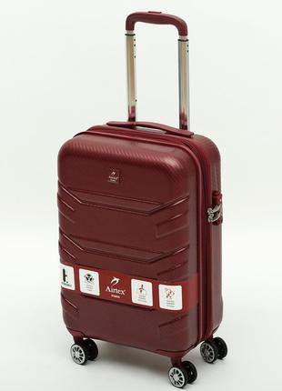 """Французский ударостойкий чемодан малый из поликарбоната на 4-ых колесах """"airtex """" 7313 s"""