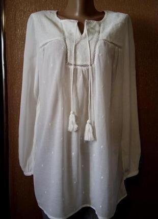Блузка бело молочная  вышивка-плюмети,длинный рукав хлопок вискоза размер 10-12 mango