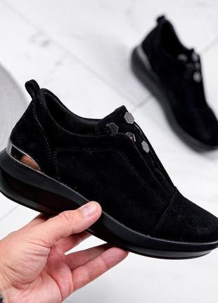 1789.    черные замшевые кроссовки