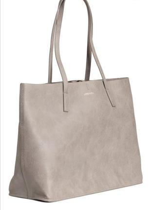 Двухсторонняя серая  сумка шопер h&m