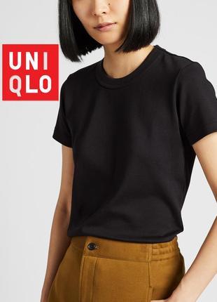Классическая однотонная женская хлопковая футболка юникло uniqlo в винтажном стиле
