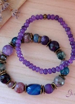 Комплект браслетов из натуральных камней ′галактика′