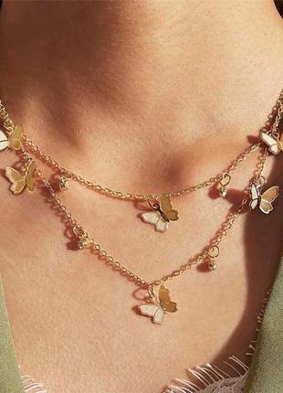Ожерелье колье чокер многослойная цепочка золотистая с подвеской бабочки бабочка