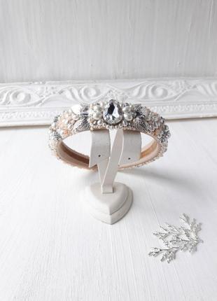 Свадебный бежевый обруч с керамическим жемчугом, тиара для невесты
