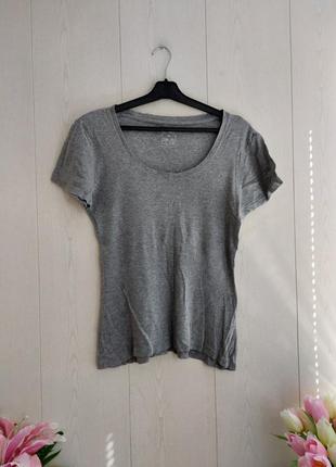 Стильная базовая футболка серого цвета/натуральная футболка хлопок/серая футболка esmara