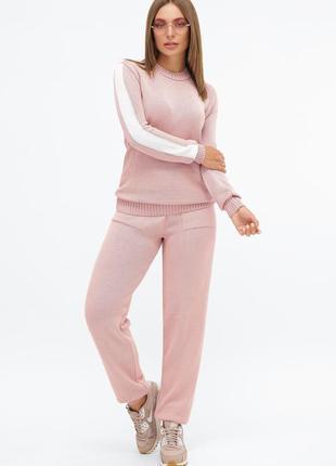 Женский пудровый розовый вязаный спортивный костюм с лампасами (mrss)