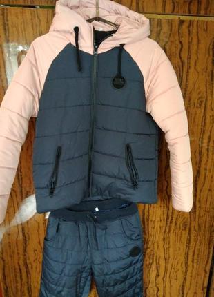 Утеплений жіночий зимовий костюм (куртка та штани) на високий зріст